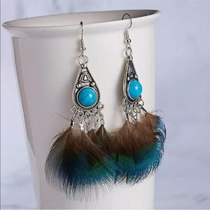 Boho Silver Feather & Turquoise Earrings Dangle